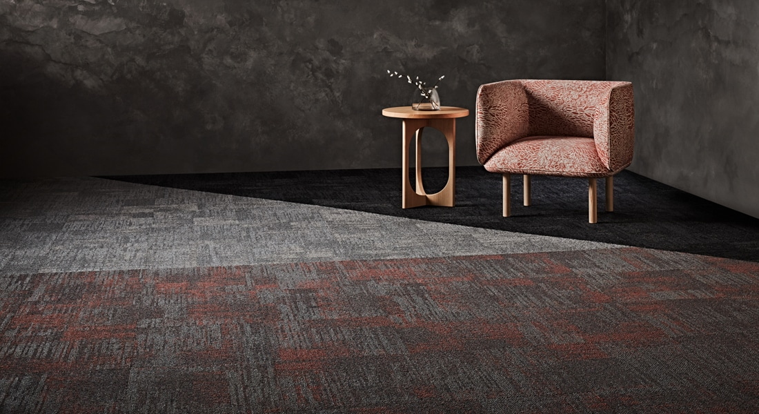 Carpet Tile Collection Raw Elements Bedrock_Gabbro_1-000-000CB_Bedrock_Pumice_6-000-000CB_Gemstone_Shale_Sunstone_3-135-136CB