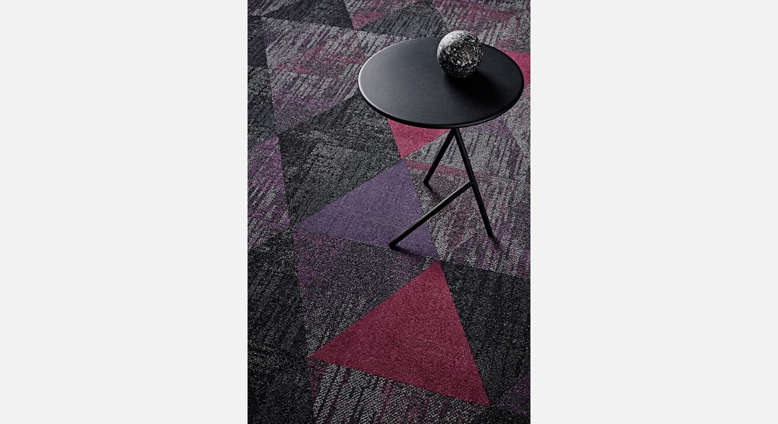 Carpet Tile Collection Raw Elements Bedrock_Gabbro_1-000-000TR_Gemstone_Basalt_Tourmaline_2-107-115TR_Gemstone_Basalt_Amehtyst_2-116-117TR_Vivid_Plum_Pudding_Vivid_Fancy_Pansy