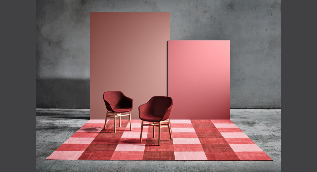 VIVID202 Carpet Tiles VIVID156-E31 Piggy Bank, VIVID164-B44 Tutti Frutti, VIVID169-C46 Sipping Sangria, VIVID059-C45 Fire Cracker